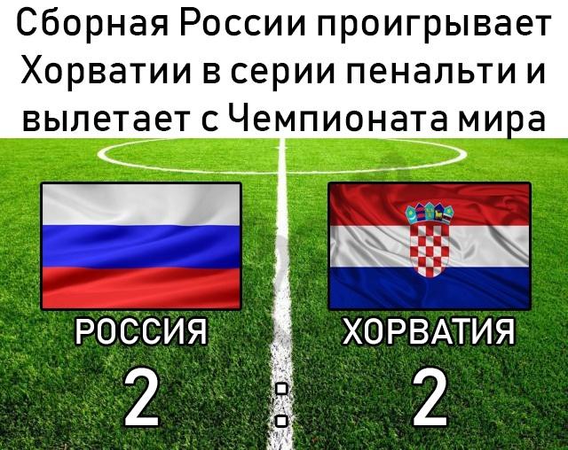 Сборная России проиграла Хорватии в четвертьфинале ЧМ 2018