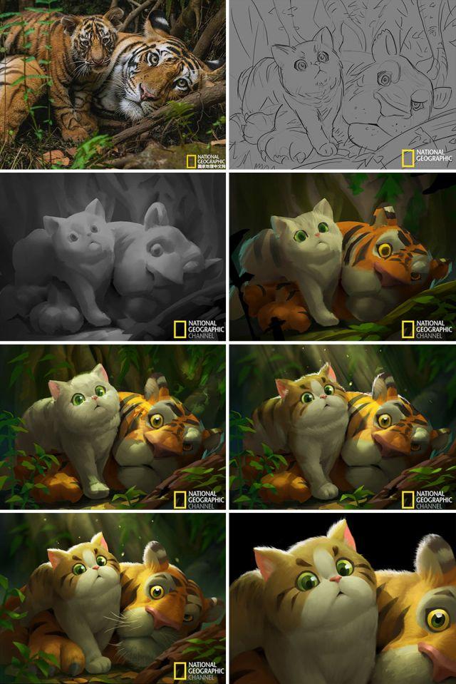Рисунки по мотивам фотографий от National Geographic (11 картинок)