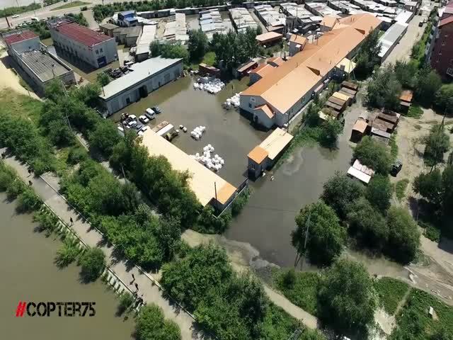 Наводнение в Чите - вид с квадрокоптера