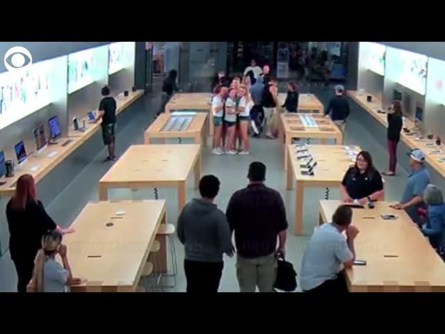 Ограбление магазина Apple в Калифорнии за 30 секунд