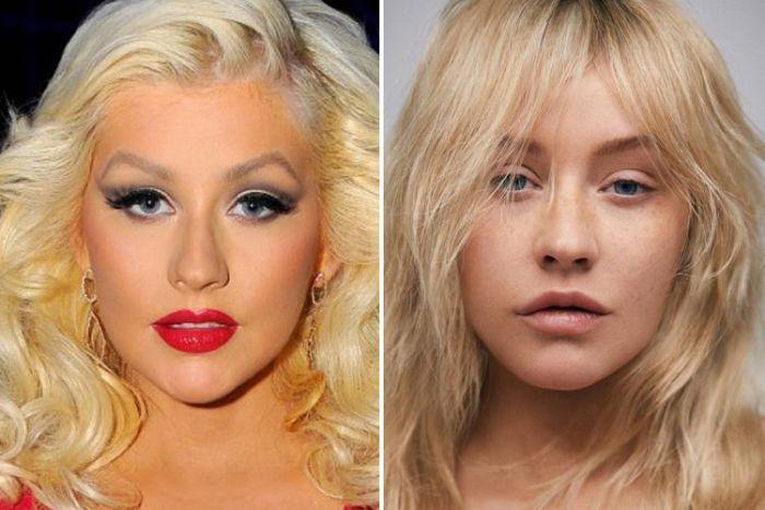 Знаменитости с макияжем и без косметики (29 фото)