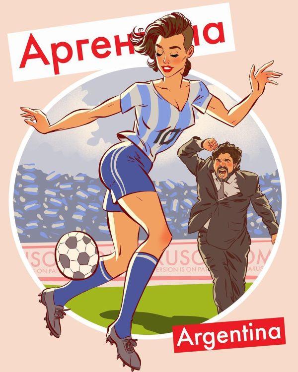 Футбольный пинап от российского художника-иллюстратора (13 картинок)