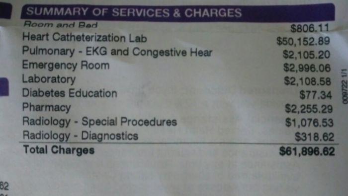 Счет за лечение в американской больнице (2 фото)