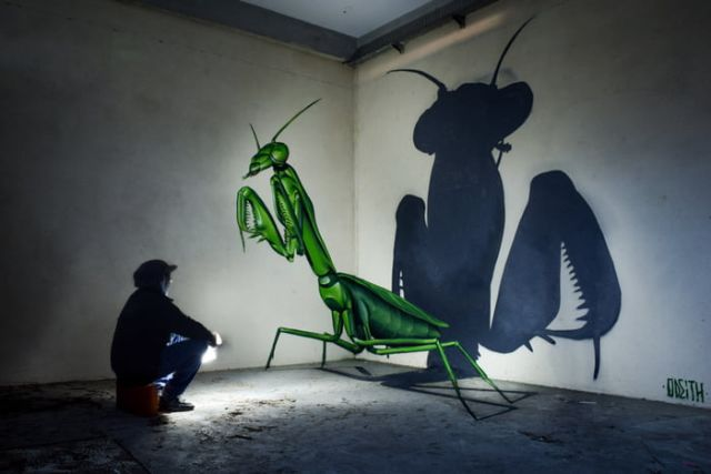 3D-рисунки на стенах, пугающие своей реалистичностью (9 фото + видео)