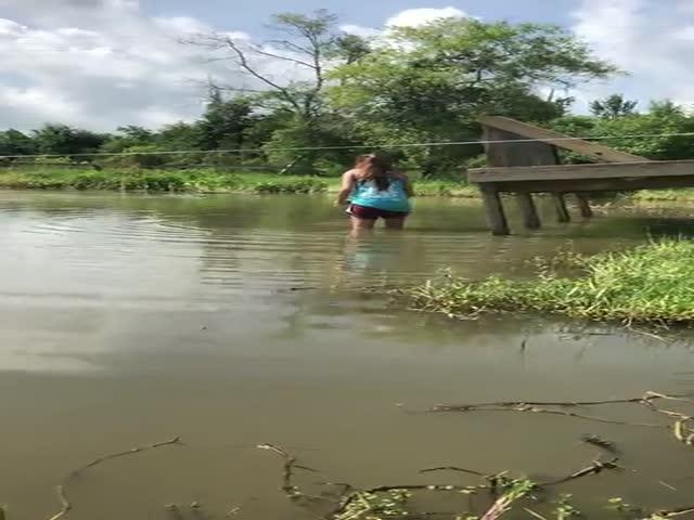 Смелая девушка решила покормить с рук 4-метрового аллигатора