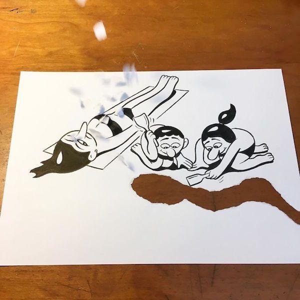 Необычные рисунки с эффектом объемности (29 фото)