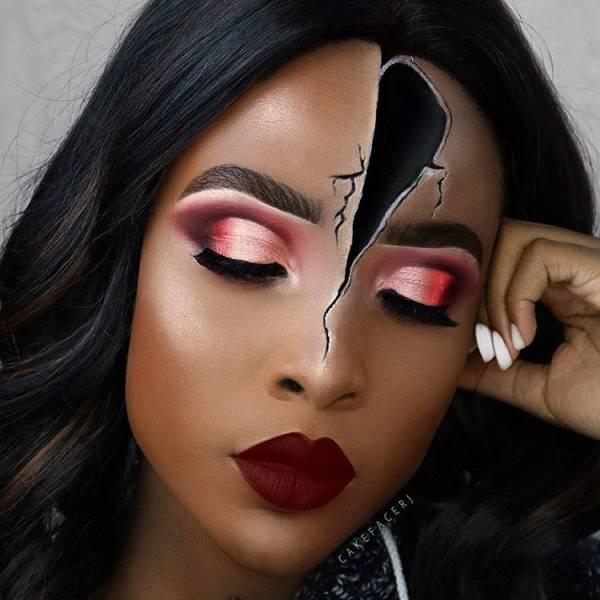 Оптические иллюзии при помощи макияжа (21 фото)