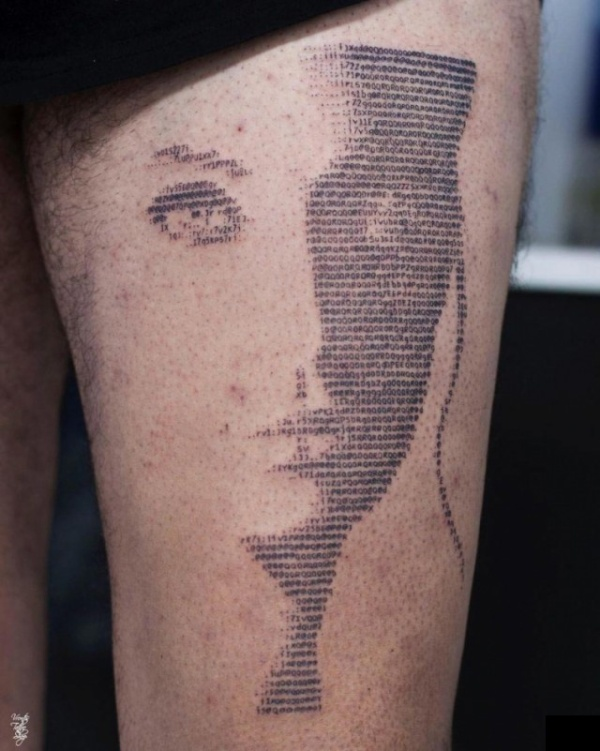 """Необычные татуировки в стиле """"ASCII"""" (18 фото)"""