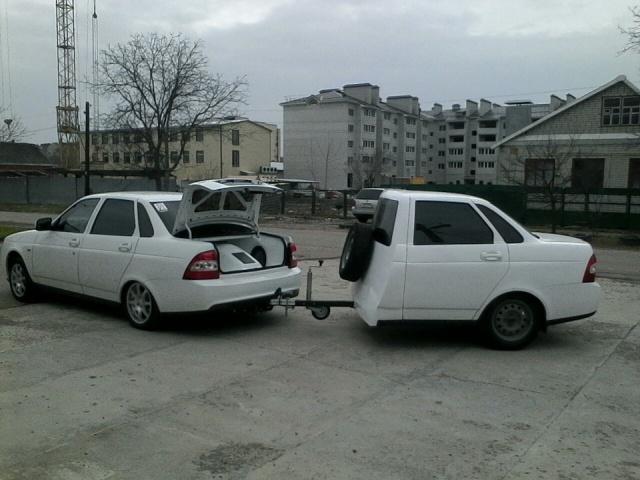 """Полторы """"Приоры"""" или прицеп из половины автомобиля (5 фото)"""