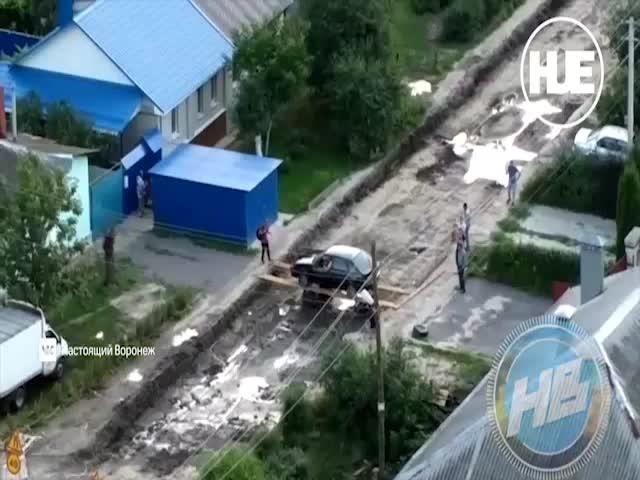 Экстремальный въезд во двор в Воронеже