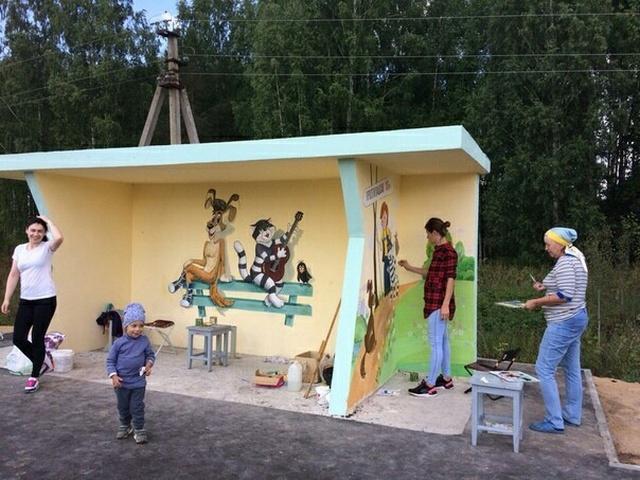 Доработка автобусной остановки в деревне Простоквашино (4 фото)
