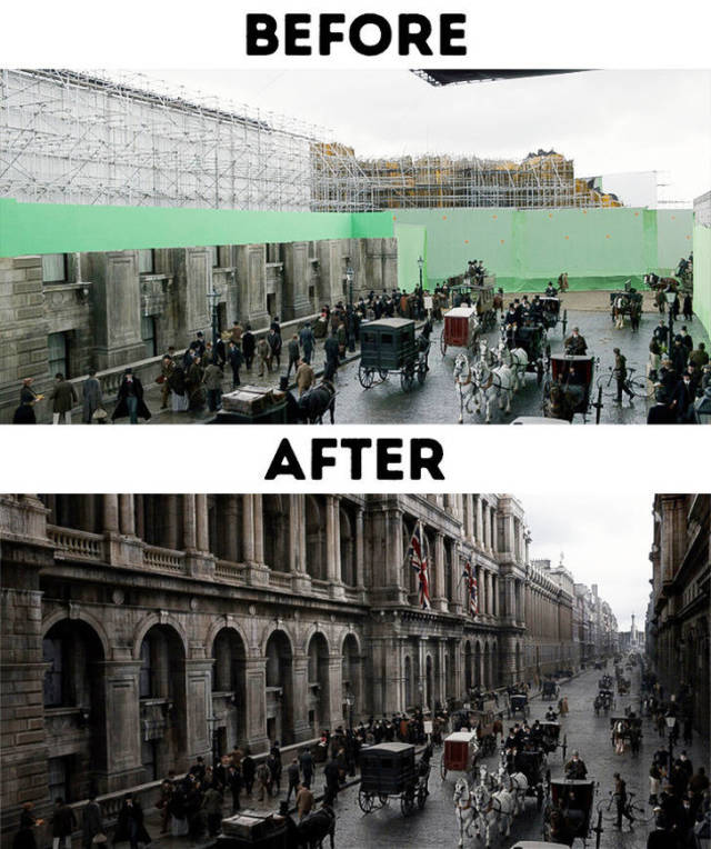 """Современные кинофильмы """"до и после"""" добавления спецэффектов (32 фото)"""