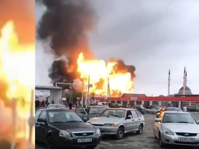 Мощный взрыв на АЗС в чеченском селе