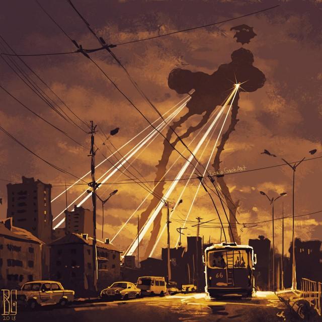 Иллюстрации повседневных городов, наполненные атмосферой страха (11 рисунков)