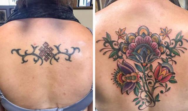 """Татуировки в стиле """"до и после"""" (21 фото)"""