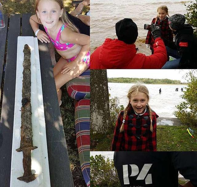 Девочка из Швеции нашла старинную реликвию на озере (4 фото)