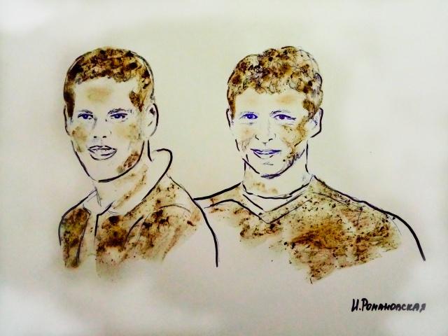 Художница сделала рисунок Кокорина и Мамаева грудью и грязью (фото + видео)