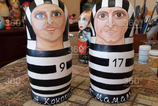 Сувенирные матрешки Кокорина и Мамаева в тюремной форме (4 фото)