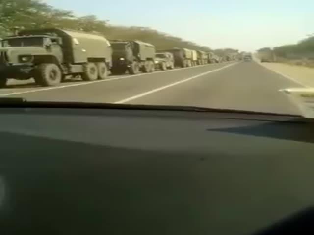 Колонна военной техники движется в сторону Ингушетии