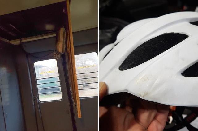 Пассажира электрички спас велосипедный шлем на голове (4 фото)
