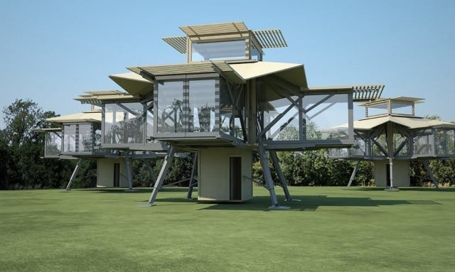 Саморазворачивающиеся здания для любых нужд (10 фото)