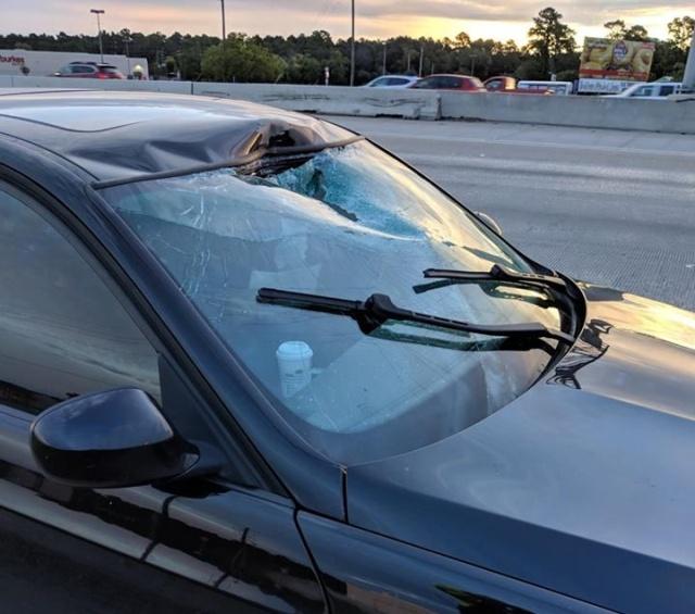 Неожиданное происшествие на трассе, которое могло завершиться фатально (2 фото)