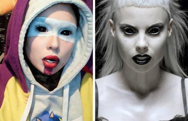 Омская студентка перевоплощается в известных людей и персонажей при помощи макияжа (16 фото)