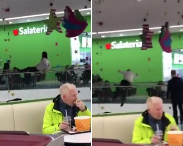 Девушка дурачилась на парапете в торговом центре и упала на проходящую внизу женщину (фото + видео)
