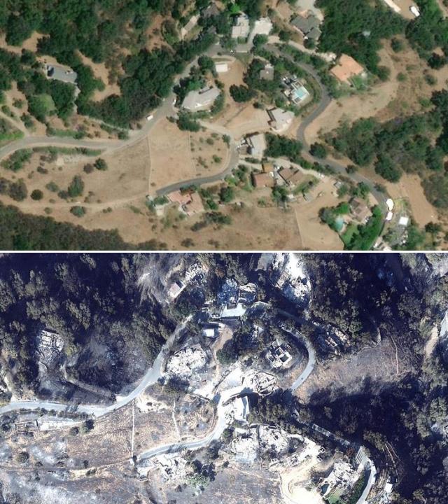 Фотографии Малибу со спутника до и после пожаров (9 фото)