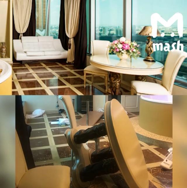 Состоятельный москвич с проституткой разгромили номер в элитном отеле (2 фото + видео)