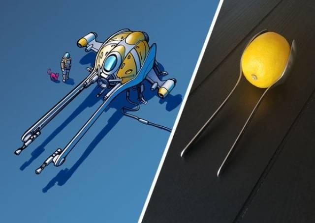 Космические корабли из обычных предметов (17 фото)