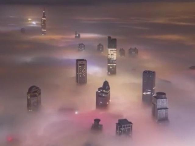 Как выглядит город, в котором видимость упала до 50 метров из-за густого тумана