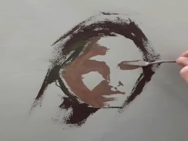 Необычная техника создания портрета маслом