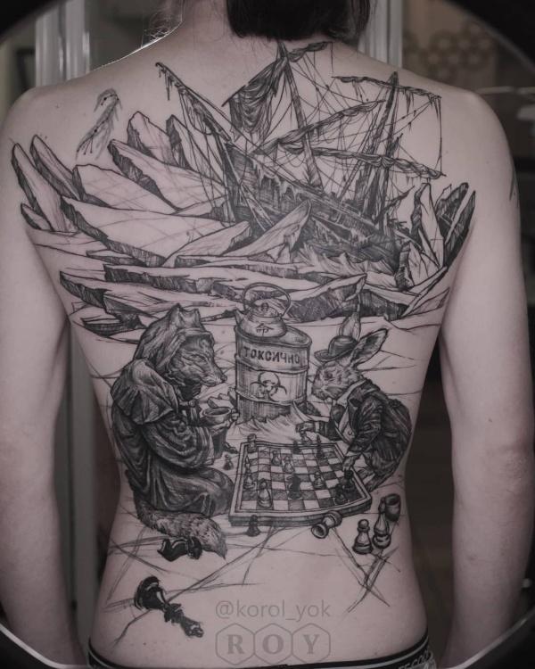 Как французский моряк заказывал тату на всю спину и питерского мастера Елены Королевой (4 фото)