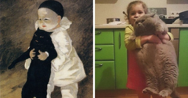 Пользователи социальной сети воссоздают известные картины, позируя для фото (24 фото)