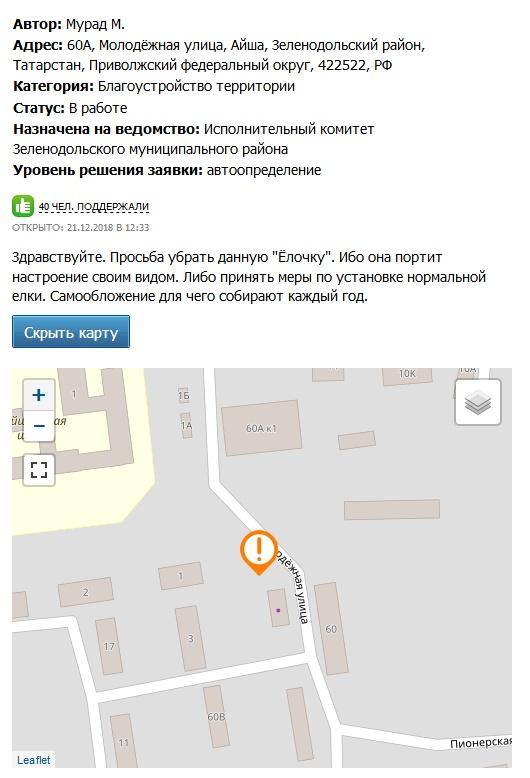 Жители поселка в Татарстане потребовали убрать наряженную к праздникам ёлку (2 фото)
