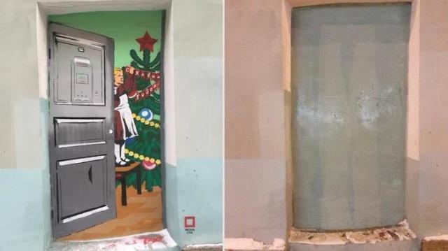 Коммунальщики закрасили новогодний стрит-арт в Санкт-Петербурге (4 фото)