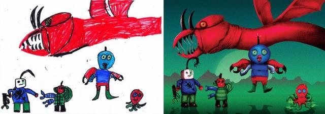Когда детские рисунки перерисовывают профессиональные иллюстраторы (50 фото)