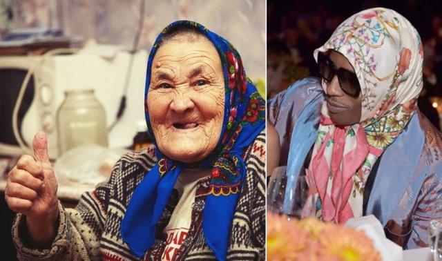 Babushka-style - мода, в которую ворвались старушечьи платки (9 фото)