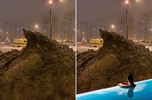 Сугроб в Санкт-Петербурге стал героем фотожаб (13 фото)