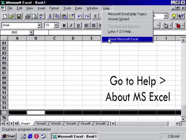 Пасхалка в старом Microsoft Exel для Windows 95