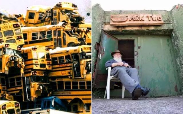 Подземное убежище, созданное из 42 школьных автобусов (19 фото)