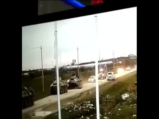 Lada решила вклиниться в военную колонну в Зеленоморске