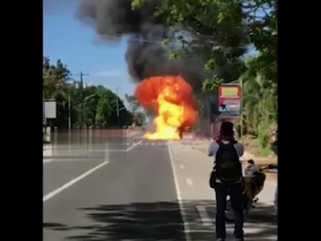 Взрыв мотороллера, который перевозил 50 баллончиков с газом