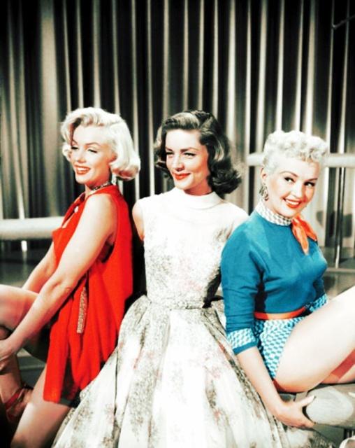 """За кадром фильма """"Как выйти замуж за миллионера"""" 1953 года (19 фото)"""