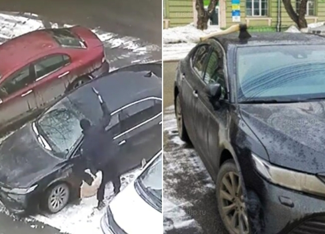 Неизвестный мужчина воткнул топор в крышу припаркованного автомобиля (3 фото + видео)