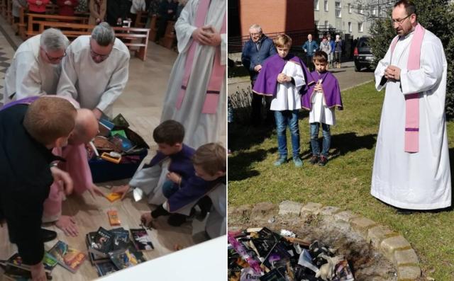 Католические священники в Польше сожгли книги о вампирах и волшебниках (6 фото)