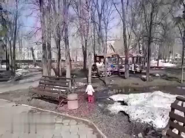 Суровый омский паровозик в парке