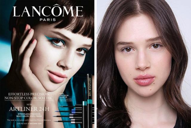 Модели из рекламы косметики с макияжем и без него (22 фото)
