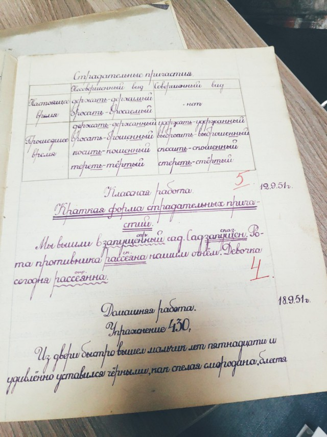 Почерк пятиклассника в начале 1950-х годов (7 фото)